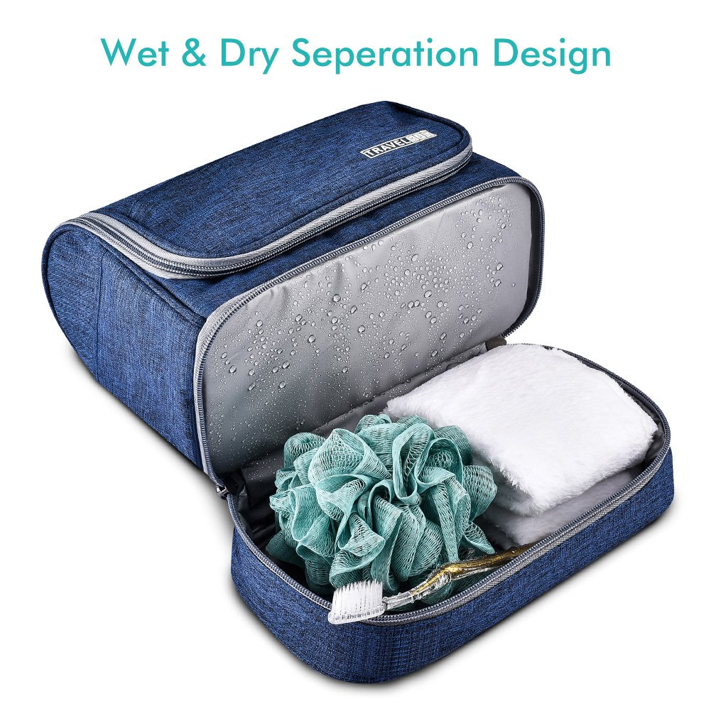 Toiletry Bag Hanging Travel Toiletry Organizer Kit with Hook and Handle Waterproof Cosmetic Bag Dop Kit for Men or Women (Navy Blue) by NICEPACK (Image #4)