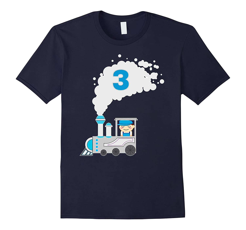 Kids 3 Year Old Train Birthday Shirt Boys 3rd CL Colamaga