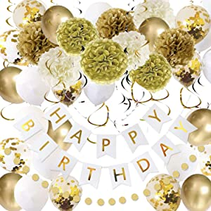 Gold and White Birthday Party Decorations Set, 49 Pack Happy Birthday Decorations including Tissue Paper Pom, Latex Balloon, Happy Birthday banner, Glitter Garlands, Hanging Swirls for Kids Girls Women Birthday Party Decor