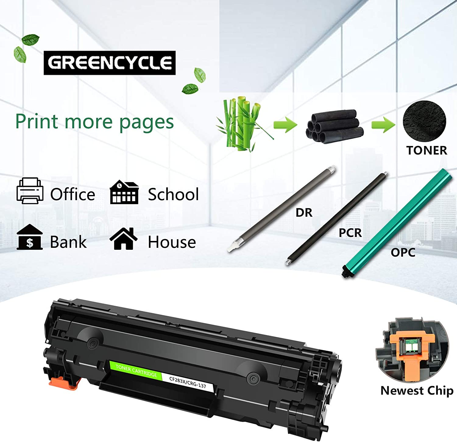 GREENCYCLE Compatible for Canon 137 C137 CRG137 Toner Carrtidge Replacement for ImageClass MF212w ImageClass MF227dw Laser Printer Black,2 Pack
