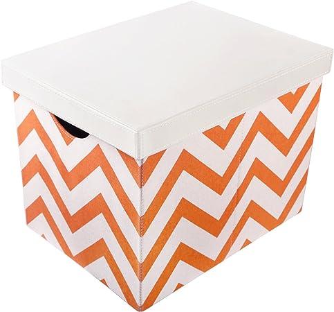 Vox Tejido Rectangular Plegable Ropa Cajas de Almacenamiento Decorativo Cubos de Almacenamiento con Tapa Cajas de Almacenamiento cestas con Asas luz Peso, Tela, Naranja, Medium, 30 Liter: Amazon.es: Hogar