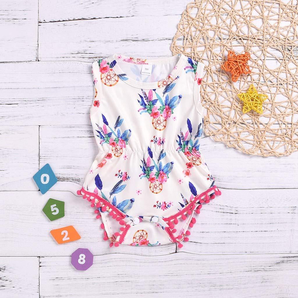 Dinlong Summer Toddler Baby Boys Girls Fashion Casual Sleeveless Shell Flower Print Romper Jumpsuit