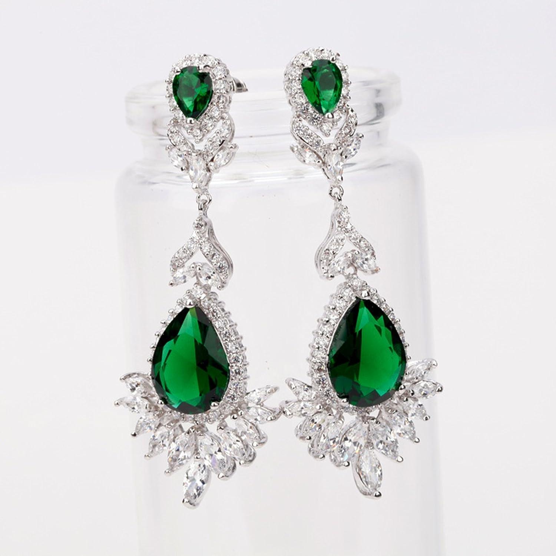 Beydodo Chandelier Earrings Dangle Gold Plated Earring for Women Pear Cut Green Cubic Zirconia