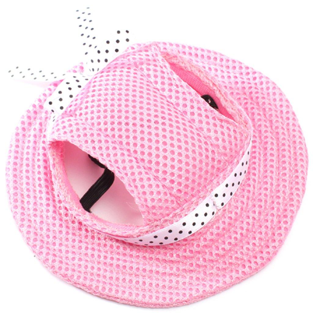 Small Pet Dog ppy Cat Kitten Princess Mesh Strap Hat Cap Sunbonnet-Pink by Generic