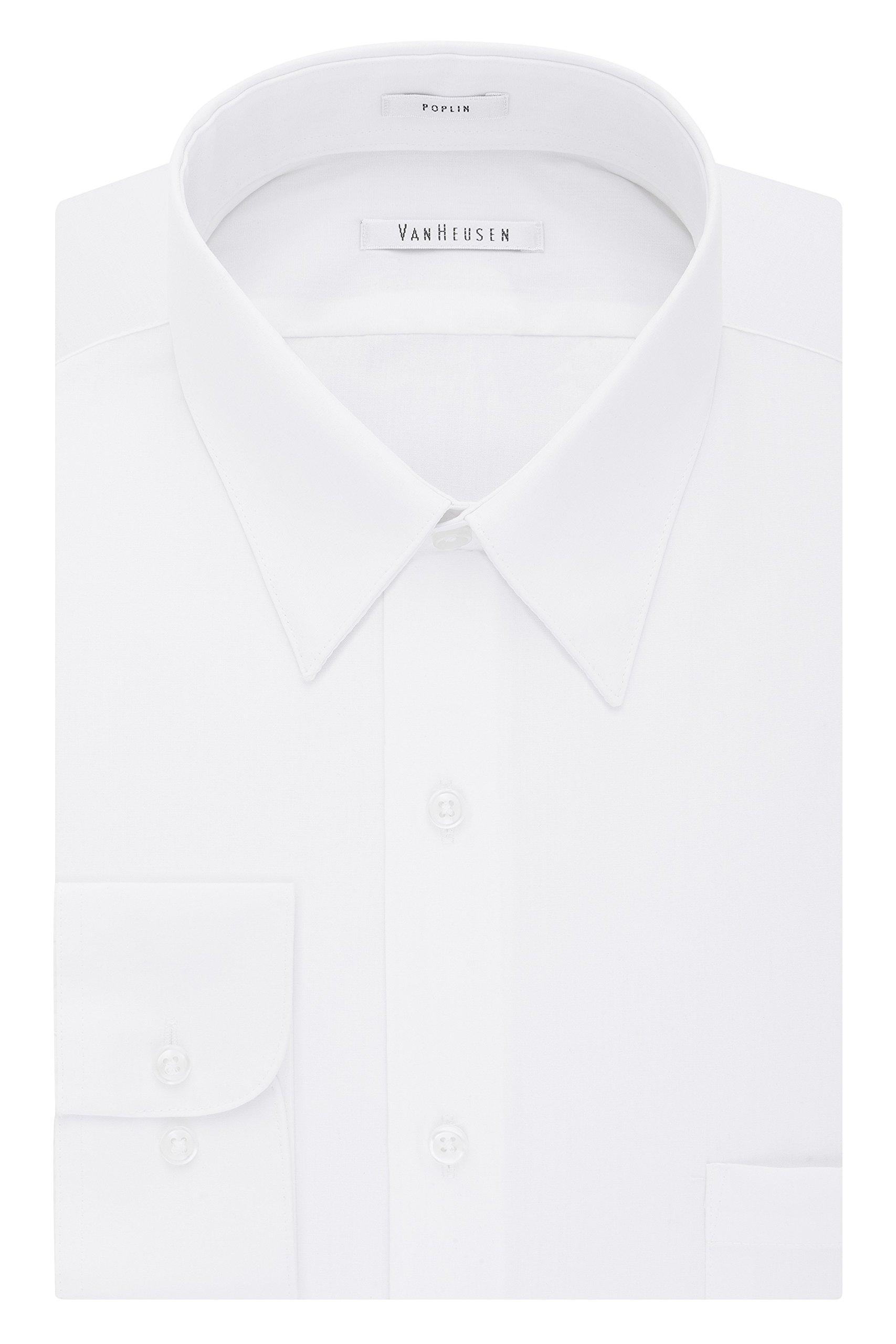 Van Heusen Men's Poplin Regular Fit Solid Point Collar Dress Shirt, White, 17'' Neck 34''-35'' Sleeve