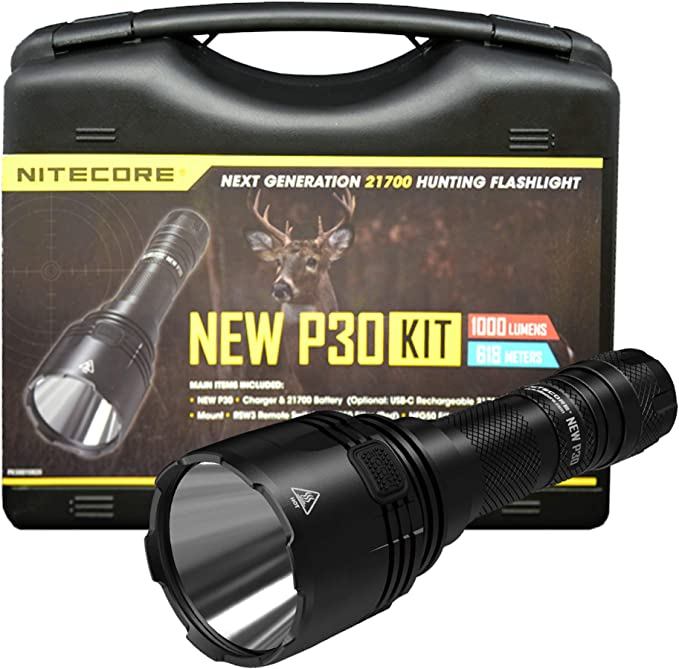 Nitecore P30 1000 Lumens 676 Yards Red and Green Rechargeable Hunting Light - Best Overall