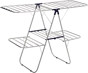 SONGMICS Foldable Clothes Drying Rack, 2-Level Stable Indoor Airer, Free-Standing Laundry Stand, with Height-Adjustable Gullwings, for Bed Linen, Clothing, Socks, Scarves, Blue ULLR53BU
