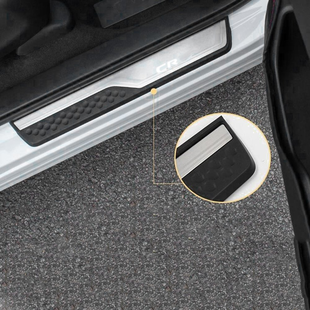 Silver Anxingo Stainless Steel Door Sill Scuff Plate Cover Fits Honda CR-V CRV 2017 2018 Guard Sills Protector Trim 4 PCS