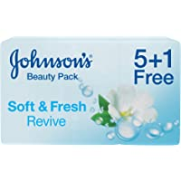 JOHNSON'S, Bath Soap, Soft & Fresh, Revive, 125g, Pack of 5 + 1Free