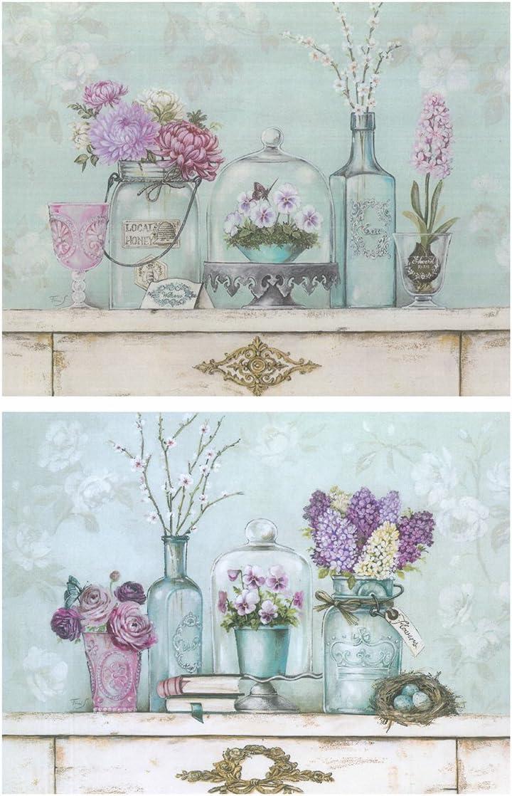 Dcine Cuadros Motivo Floral Tonos fríos Pastel Violeta - Azul. Set 2 Unidades 19 cm x 25 cm unid.