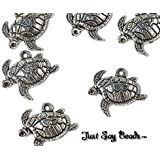 *HUGE CHARMS SALE!* 6 x Antique Silver Plated TURTLE charms. Jump Ring Attachments Included. *SEA LIFE QUALITY CHARMS* (Ref: 10B40)