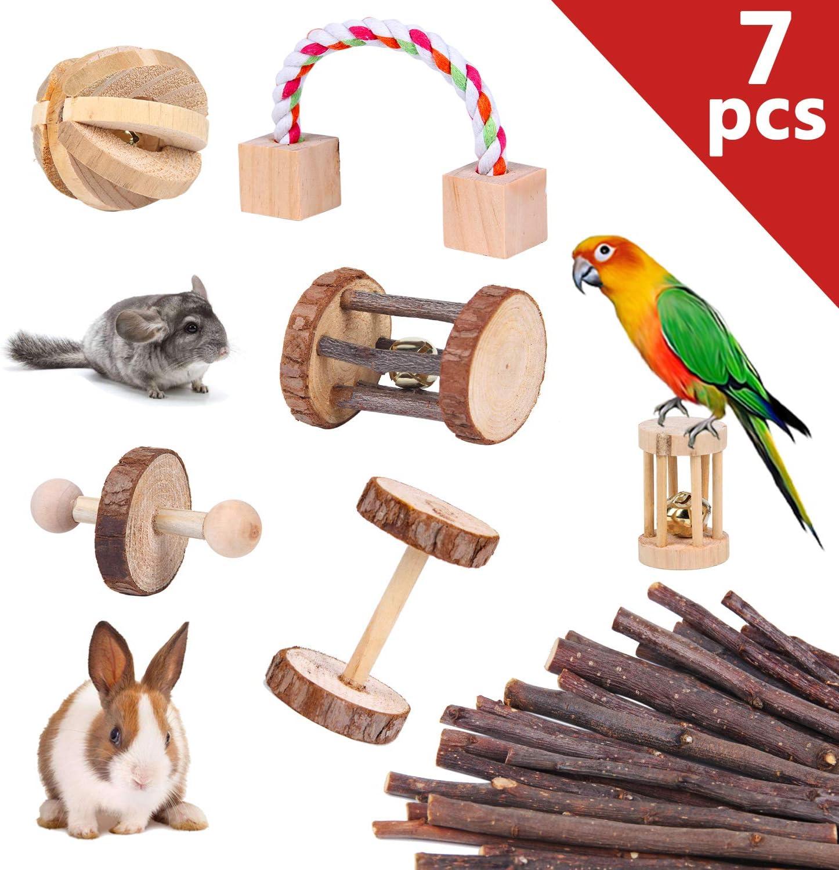 YouthUnion Juguete para Hámster Cotorra, 7pcs Juegos para Moler Dientes Jueguete de Rollo para Mascotas Pequeñas Roedores Conejo Cavia Porcellus Pájaros de Material Madera Manzana