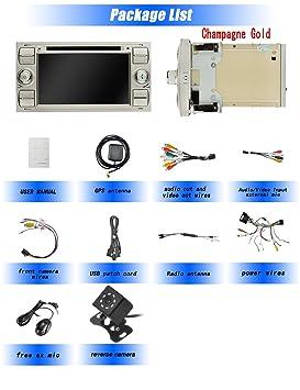 Ohok Android 8.0.0 Autoradio 7 Pulgadas 2 DIN Oreo Octa Core 4GB Ram 32GB ROM Reproductor DVD GPS Navegador Soporta Bluetooth AV-IN SWC para Ford ...