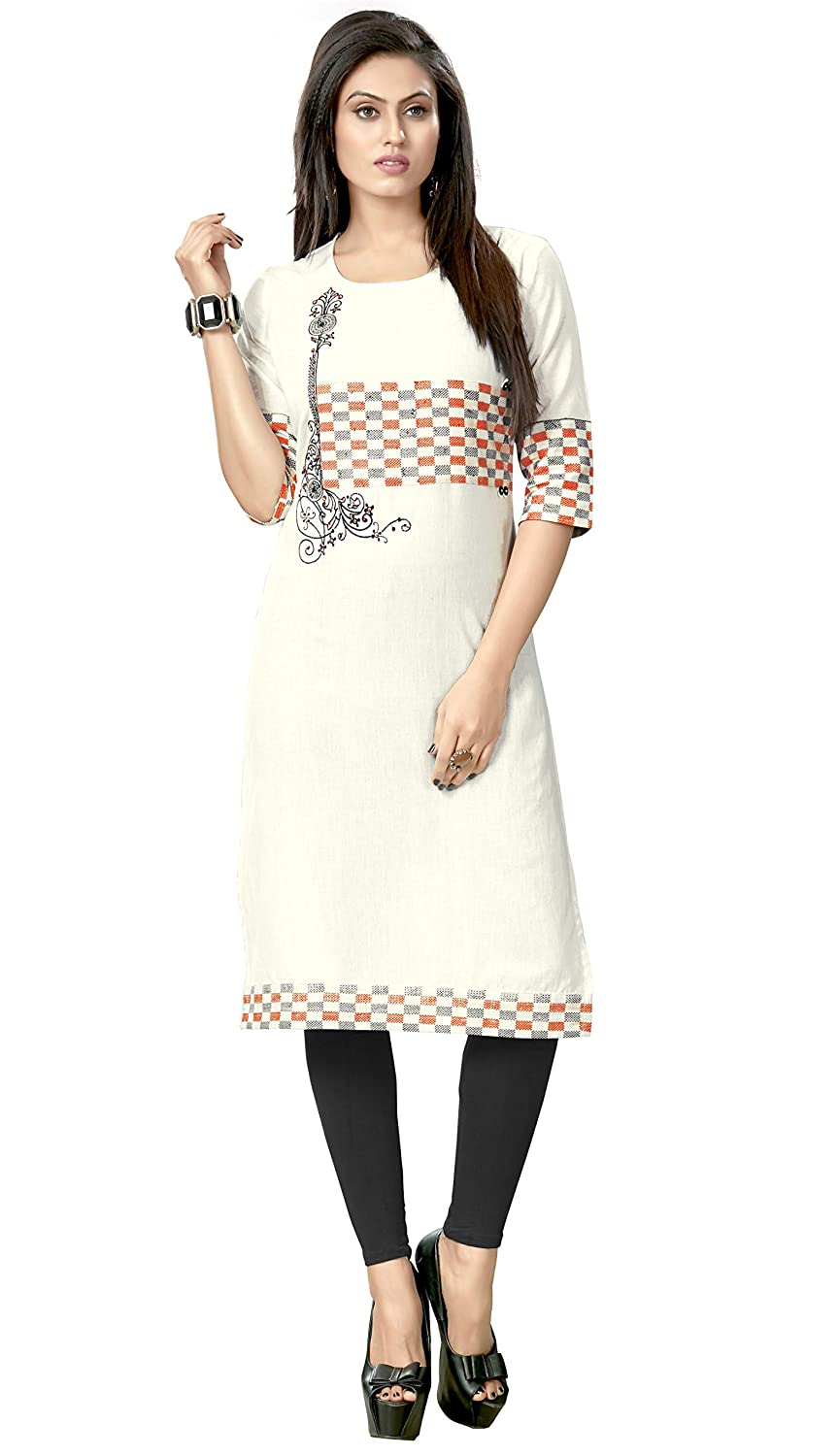 Vastrang Women's Cotton Embroidered Kurta & Kurti C1036,