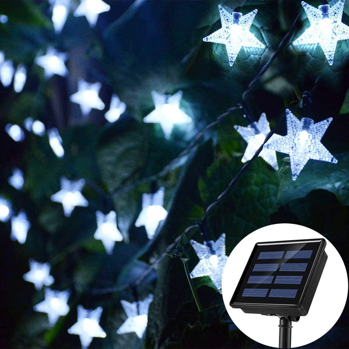 Chasgo Solar String Lights, 30FT 50LED Solar Powered Star Fairy Lights, Waterproof Outdoor LED Star Lights for Christmas Tree Garden Backyard Patio Balcony Camping Tent Decor