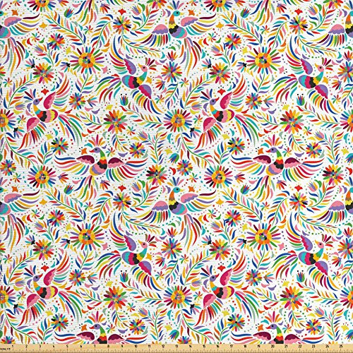 Ambesonne Mexican Fabric by The Yard, Colorful Nature Inspired Ethnic Pattern Birds Flowers Leaves and Dots Creativity, Decorative Fabric for Upholstery and Home Accents, Multicolor