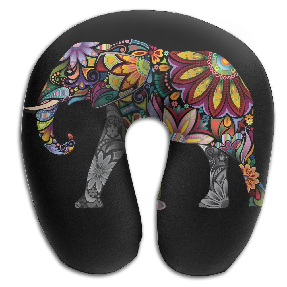 Neck Pillow With Resilient Material Colorful India Treasure Elephant U Type Travel Pillow Super Soft Cervical Pillow