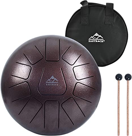Steel Tongue Drum 11 Notes 10 Inch Asmuse Pan Drum Percussion Instrument with Mallets and Bracket Tonic Sticker Travel Bag