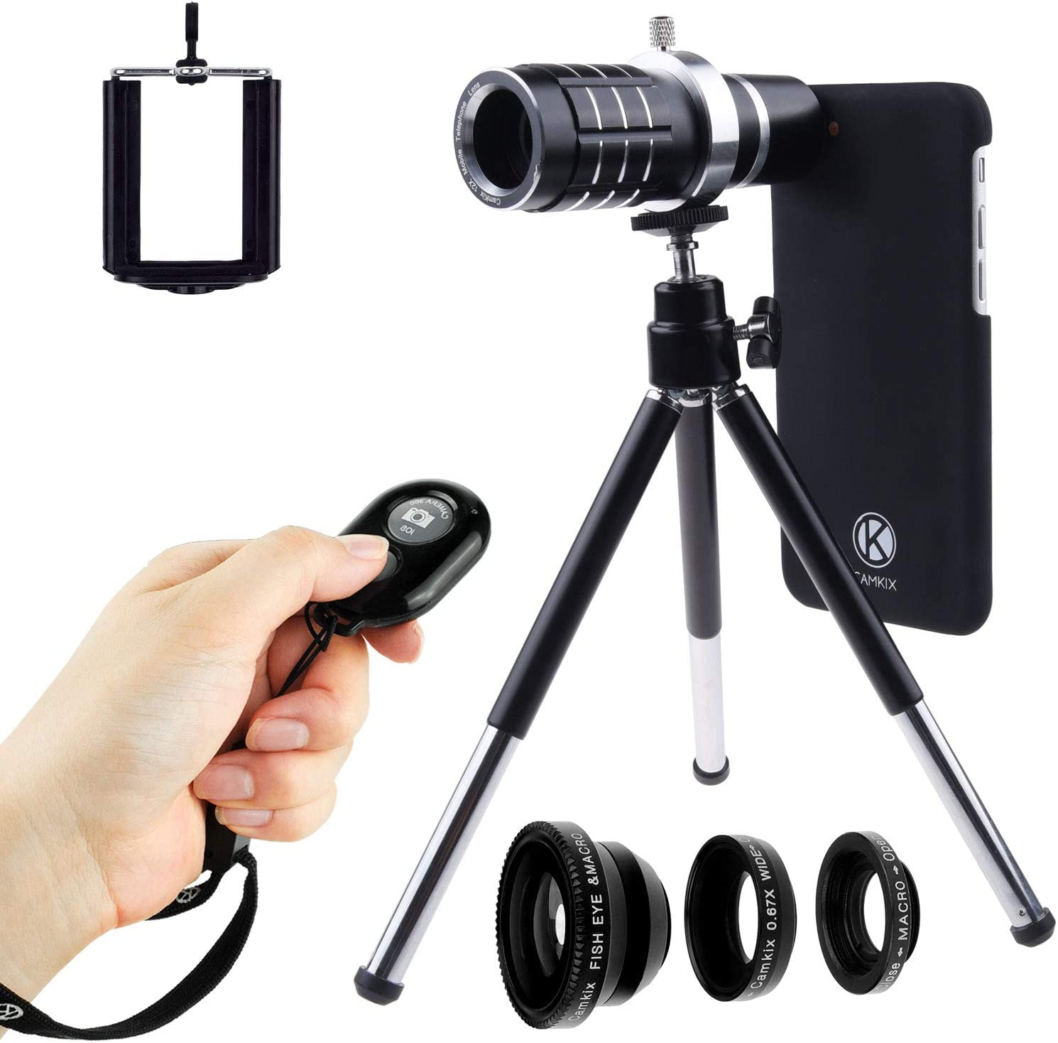 Amazon Com Camkix Lens And Bluetooth Shutter Remote Kit Compatible With Apple Iphone 8 And Iphone 7 Includes Bluetooth Remote 12x Telephoto Fisheye Macro Wide Angle Lens Tripod Holder Lens Ring Case