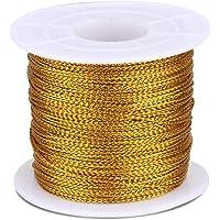 Gouden kerstkoord, 100 m gouddraad, twist stropdassen met spoel, goud metallic string voor kerststring, polyester snaar…