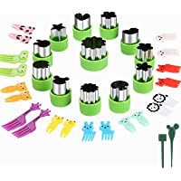 Vegetable Cutters Shapes Set, 12pcs Stainless Steel Mini Cookie Cutters, Vegetable Cutter and Fruit Stamps Mold + 20pcs…
