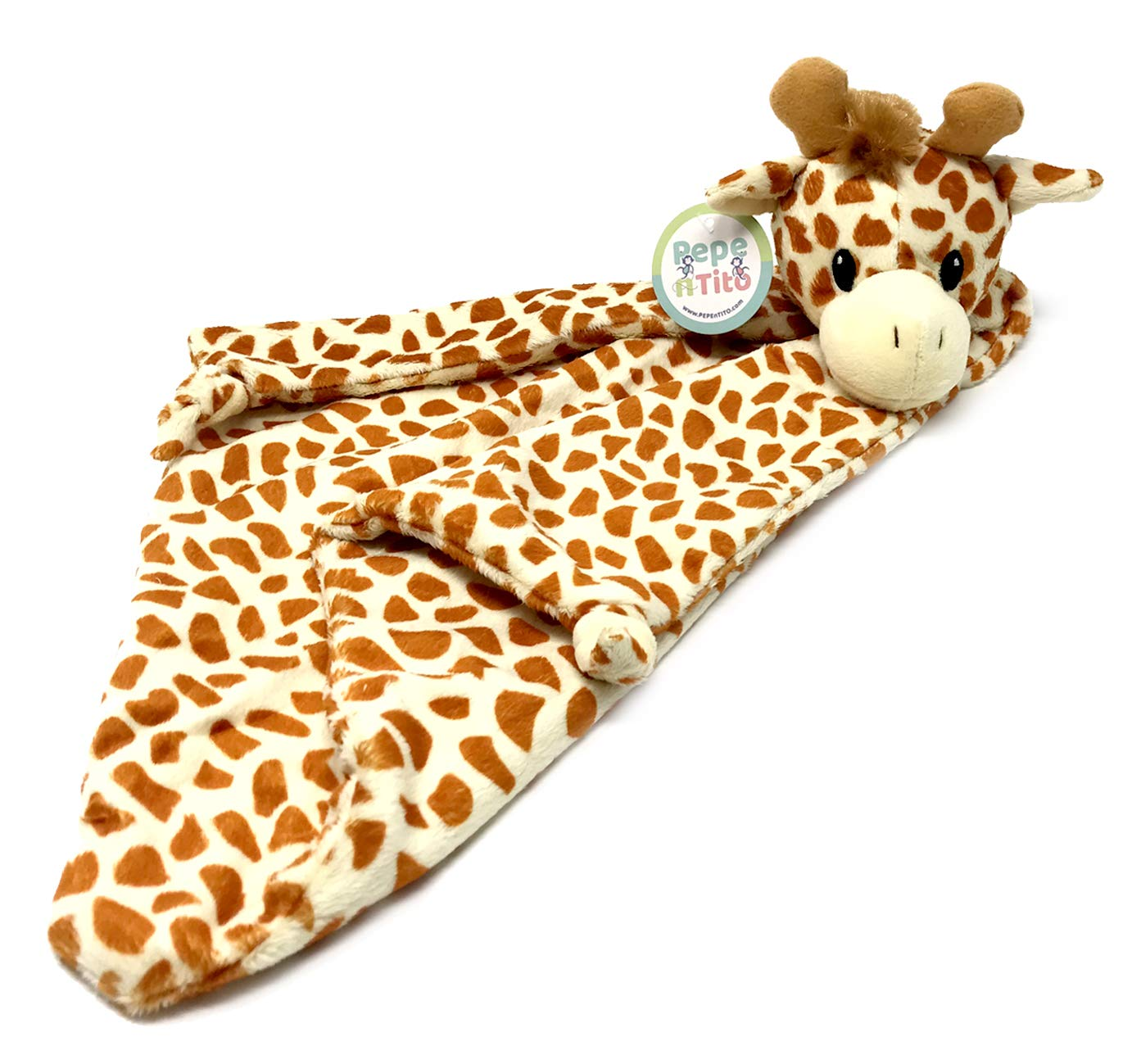 Baby Security Blanket by Pepe n Tito - 18'' Tall Soft Fleece Baby Blanket for Boys & Girls – Baby Soothing Blanket with Plush Stuffed Animal (Orange Giraffe)