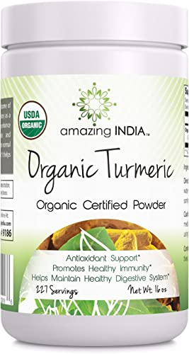 Amazing India USDA Certified Organic Turmeric Powder Non-GMO – 16 Oz – Antioxidant Support – Promotes Healthy Immunity – Helps Maintain Healthy Digestive System
