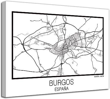 Foto Canvas Cuadro Mapa Burgos en Lienzo Canvas Impreso Decorativo | Cuadros Modernos: Amazon.es: Hogar
