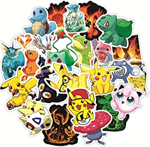 Cute Pokemon Stickers for Kids,Teens,50pcs Anime Pikachu Stickers with Party Favors for Kids,Graffiti Waterproof Decals for Hydroflasks Water Bottles Bikes Luggage Skateboard Bumper