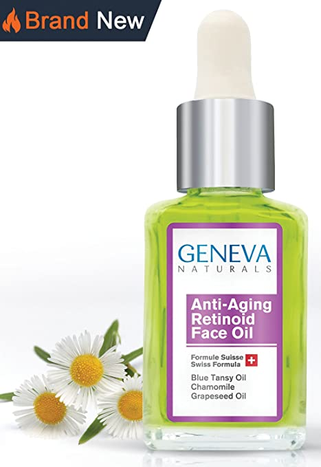 Geneva Naturals Anti-Aging Retinoid Sleeping Night Oil with Blue Tansy Oil, Chamomile, and Grapeseed Oil - 1oz