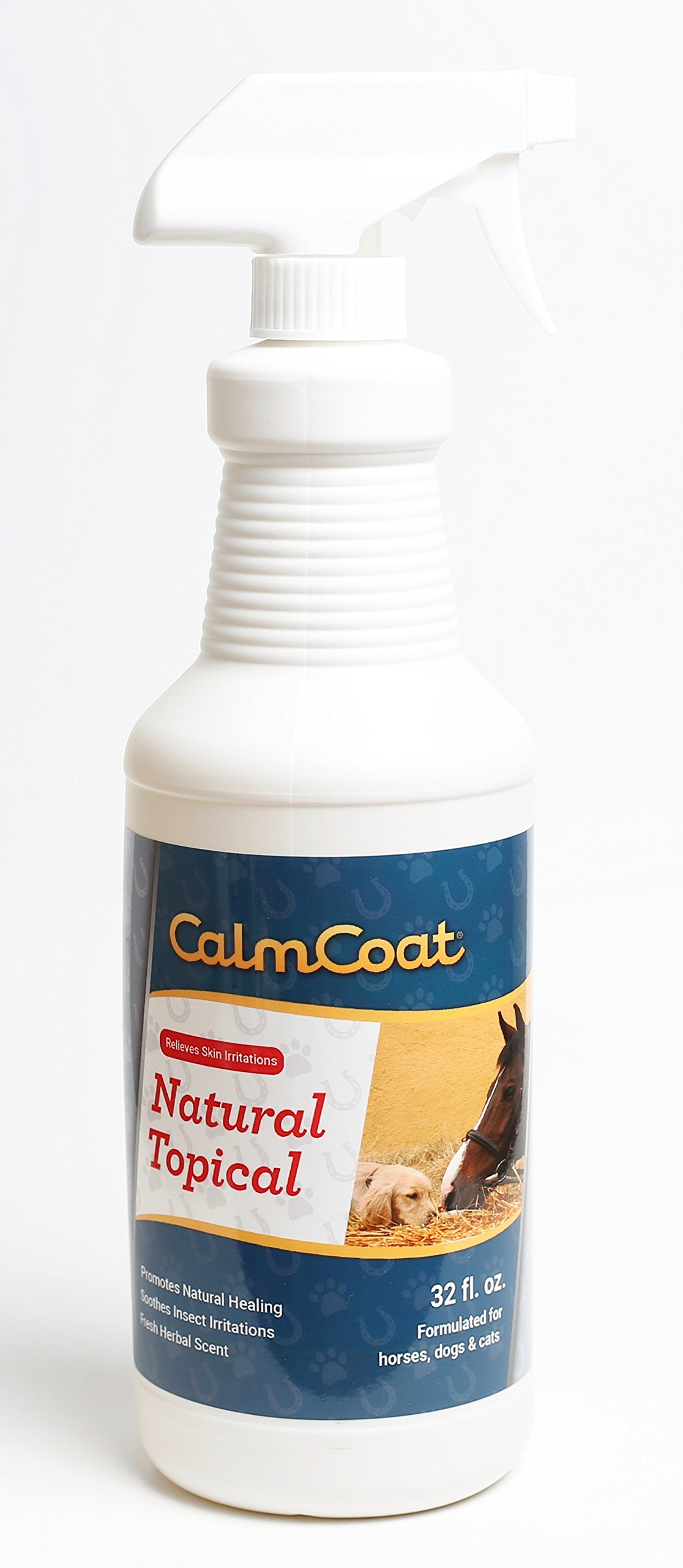 Calm Coat Natural Topical for Horses Dogs & Cats - Natural Oils to Promote Healing & Skin Relief for Irritations - for Cuts, Itchy Hot Spots, Bug Bites - Herbal Scent 32 oz by Calm Coat