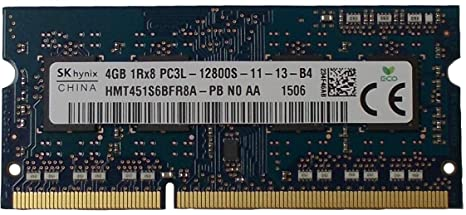 SK Hynix 4GB 1Rx8 PC3L-12800S-11-13-B4 HMT451S6BFR8A-PBSODIMM Memory for Laptop