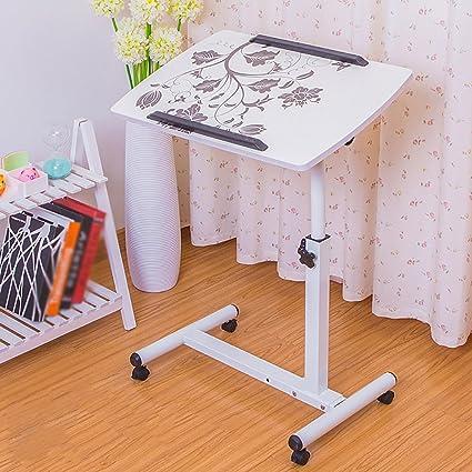 mesa plegable YXX Madera pequeña Sobre Ruedas Escritorio de la computadora con Ventiladores y Patas Ajustables
