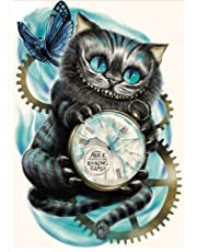 5D Diamond Painting by Number Kit DIY Crystal Rhinestone Cross Stitch Embroidery Arts Craft Picture Supplies for Home Wall Decor,Time Gear Cat-12x16In