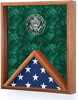 product image for All American Gifts 3x5 Flag & Medal Display Case - Shadow Box Wall Display - w/Laser Engraved Military Service Branch Emblem (Army Engraved Emblem)