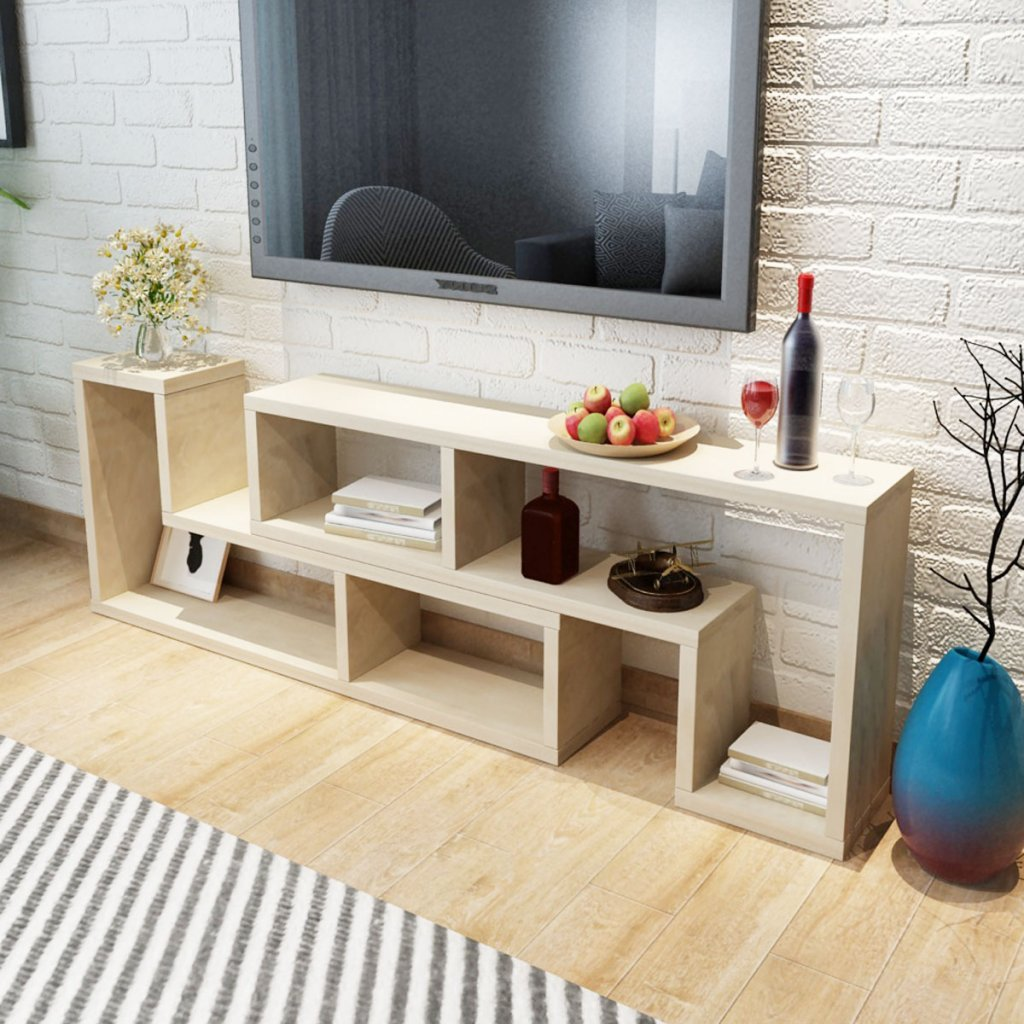 Festnight L Shaped Tv Cabinet Storage Shelves Bookcase Dvd Player