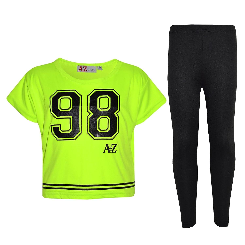 A2Z 4 Kids® Girls Top Kids 98 Print Stylish Crop Top & Fashion Legging Set New Age 5 6 7 8 9 10 11 12 13 Years