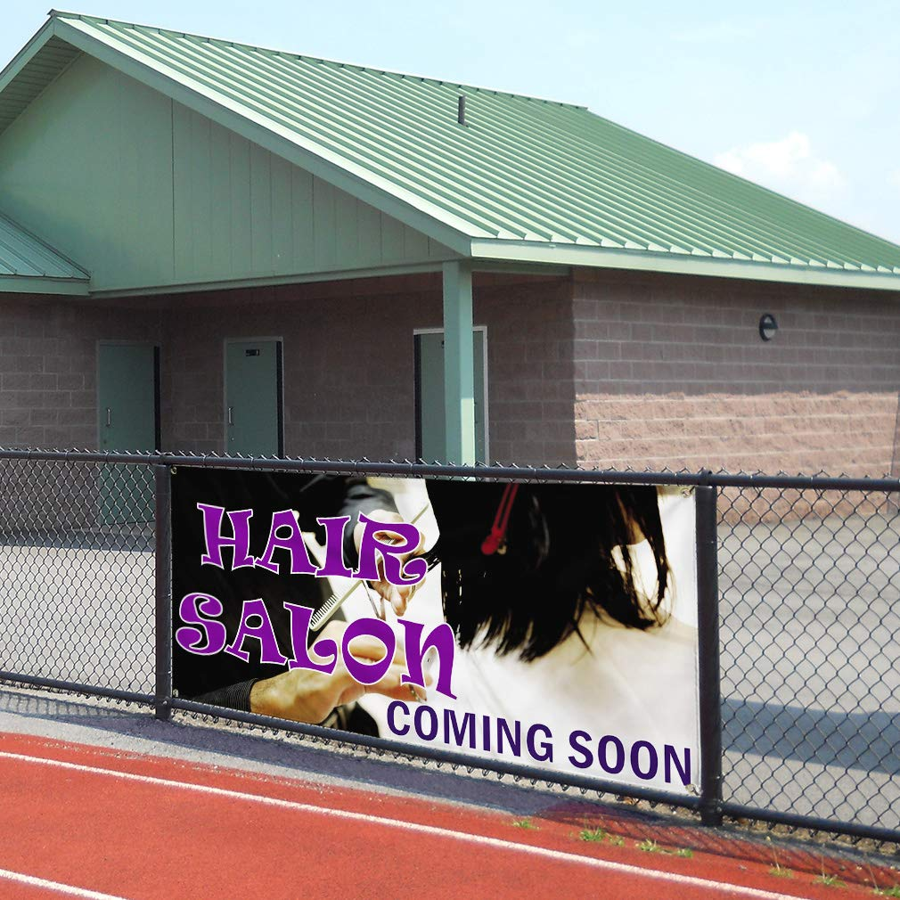 Multiple Sizes Available Set of 3 Vinyl Banner Sign Hair Salon Coming Soon #1 Business Outdoor Marketing Advertising White 24inx60in 4 Grommets