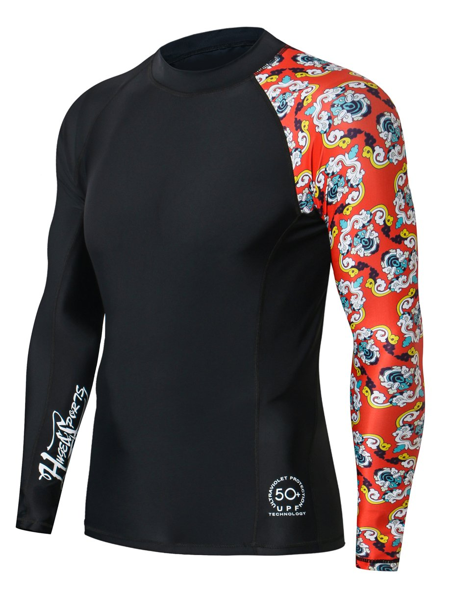HUGE SPORTS Men's Splice UV Sun Protection UPF 50+ Skins Rash Guard Long Sleeves(Bee Together, XL) by HUGE SPORTS