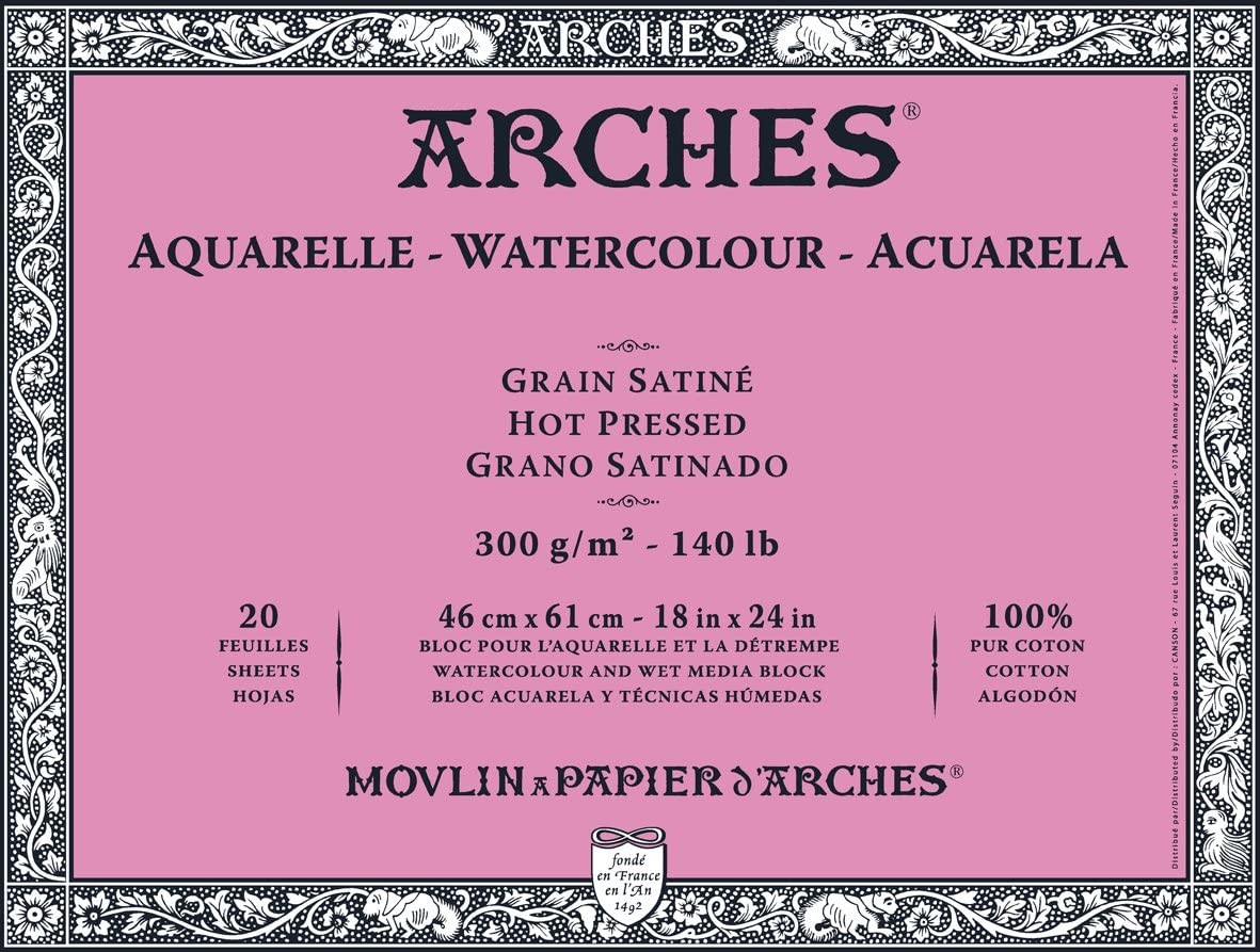 "Arches Watercolor Block, Hot Press 18""X24"","
