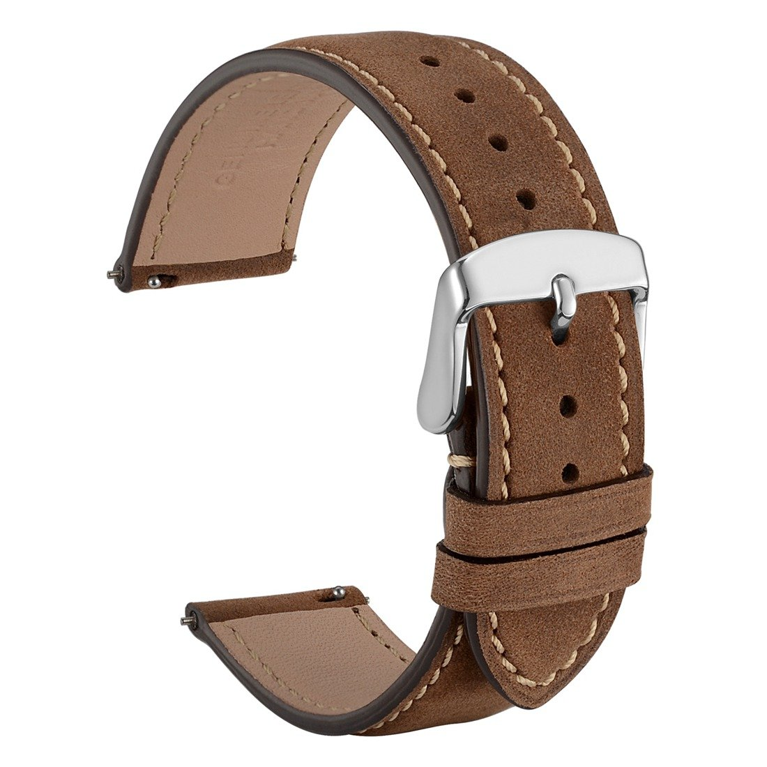 WOCCI 20mm Suede Vintage Leather Watch Band with Pins Buckle, Quick Release Strap (Dark Brown with Contrasting Seam)
