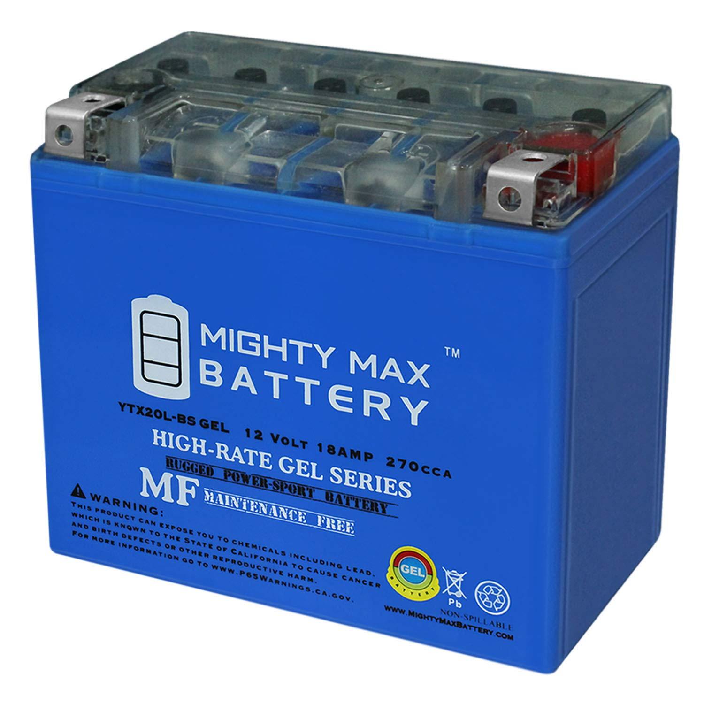 Mighty Max Battery YTX20L-BS Gel 12V 18AH Battery for Yamaha YFM450FW Kodiak 12V Battery Brand Product