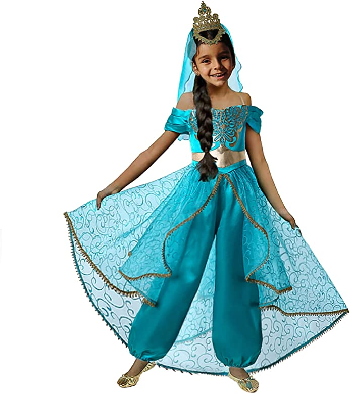 Pettigirl Niña Disfraz de Princesa árabe Viste con Velo de Corona ...