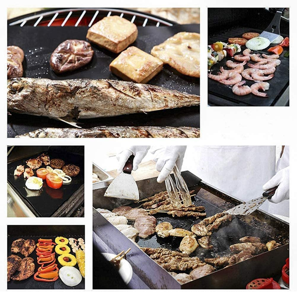 Yardwe 4 PCS BBQ Oven Grill Mat Mat Resistente al Calor Antiadherente BBQ Grill Hoja Horno Pan Liners Baking Pad Mat
