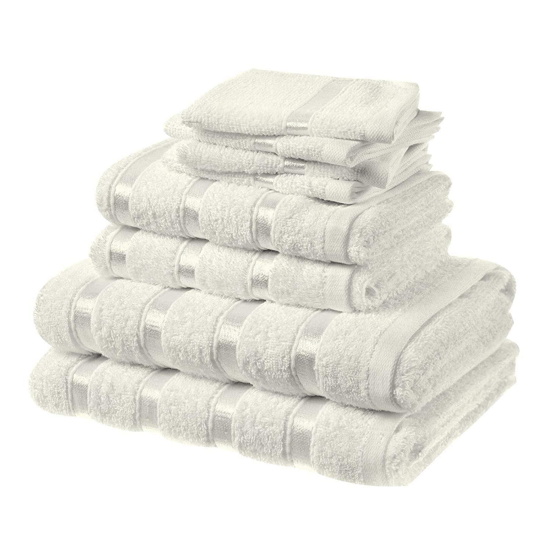 Asab Bale, set di 8 asciugamani da bagno, da mani e da viso, in cotone 100%, in confezione regalo con nastro White Sabar