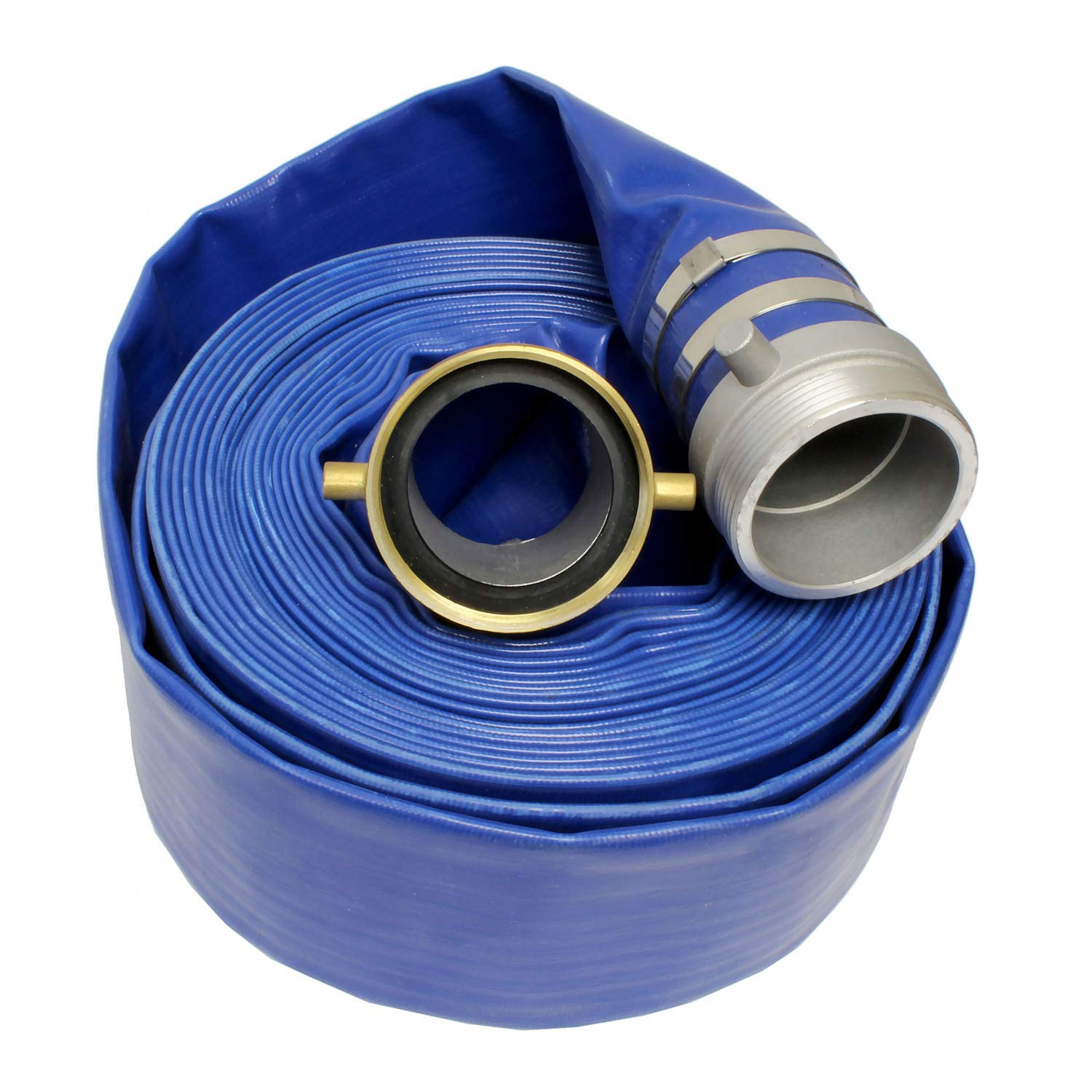 BISupply Lay Flat Hose 3'' in x 50' Ft Flat Discharge Hose & Aluminum Pin Lugs - PVC Pool Hose Heavy Duty Backwash Hose by BISupply