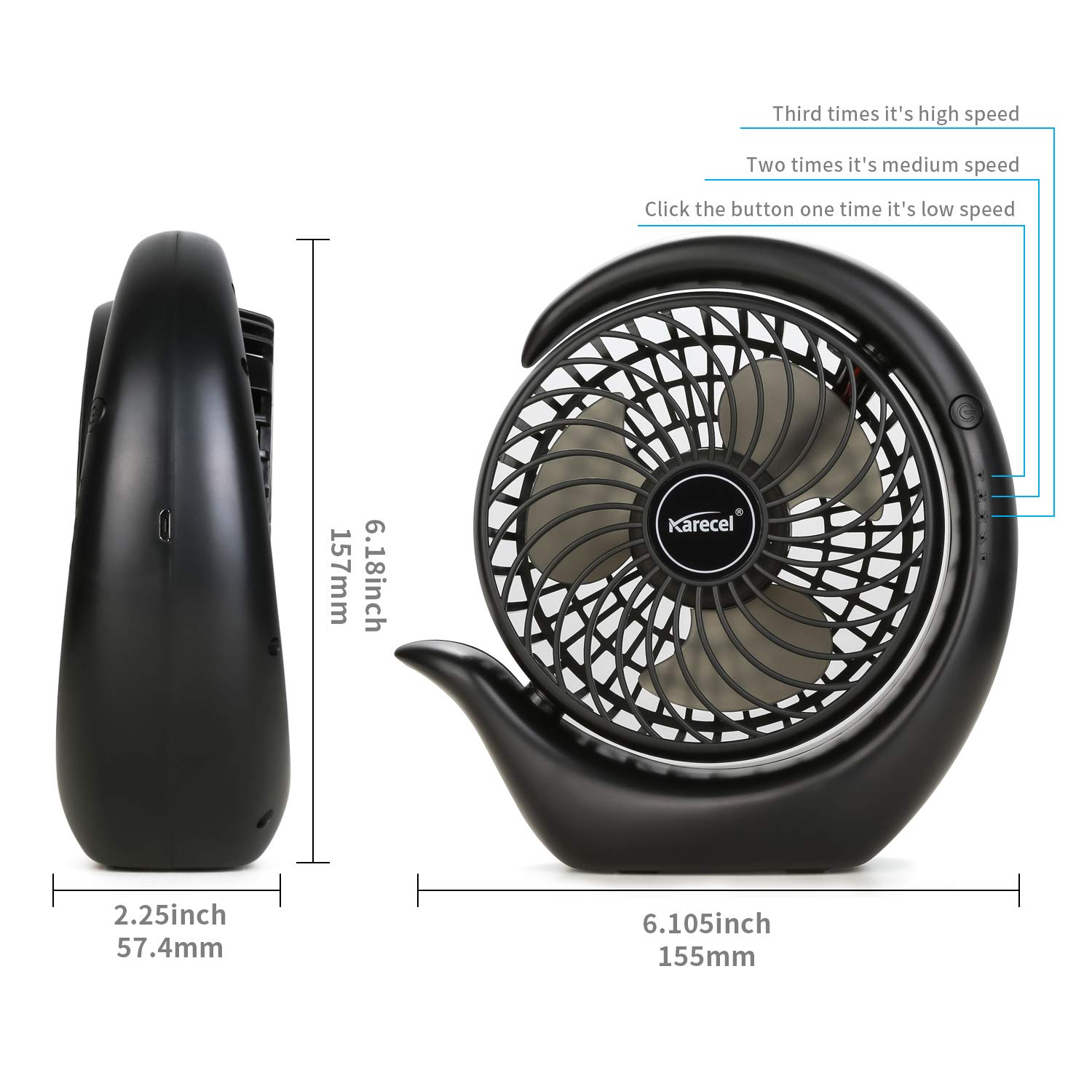 Personal Quiet Strong Wind Desktop Fan for Travel Camping Office Home Long Life Battery /& USB Powered Mini Fan KARECEL Battery Operated Fan Black Rechargeable Fan 3 Speeds Small Desk Portable Fan