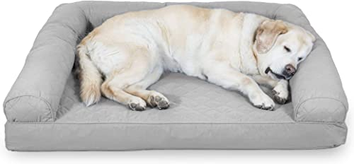 Furhaven Pet Dog Bed Therapeutic Sofa-Style Traditional Living Room Couch Pet Bed w Removable Cover for Dogs Cats – Available in Multiple Colors Styles