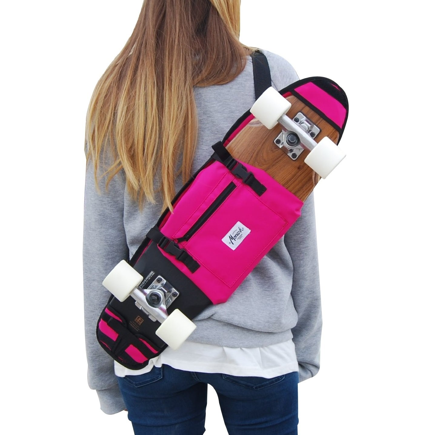 "BANDOLERA PORTA SKATEBOARD 26 Y 27"" ROSA. MONARK SUPPLY IDEA DE REGALO skate-home"