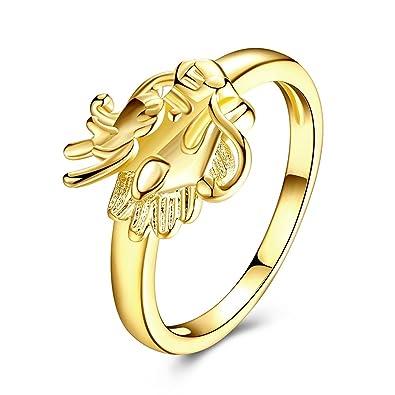 Bishilin Goldring Fur Damen Tier Dragon Drachenkopf Hochzeitsringe